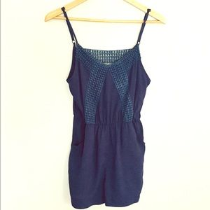 Anthropologie navy romper with pockets size S